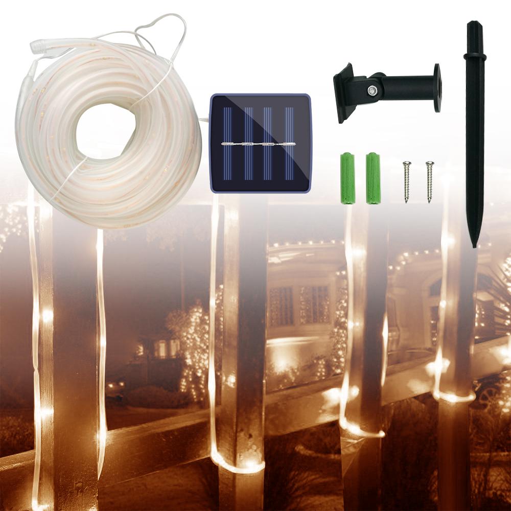 10m Warmweiß LED 8 Modi Solar Lichtschlauch Außen Lichterschlauch ...
