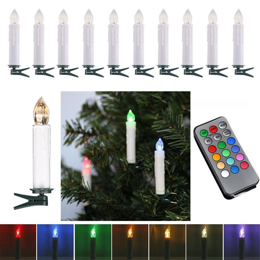 20x led weihnachtskerzen christbaumkerzen lichterkette fernbedienung rgb deko 713839426957 ebay - Weihnachtsbeleuchtung led kabellos ...