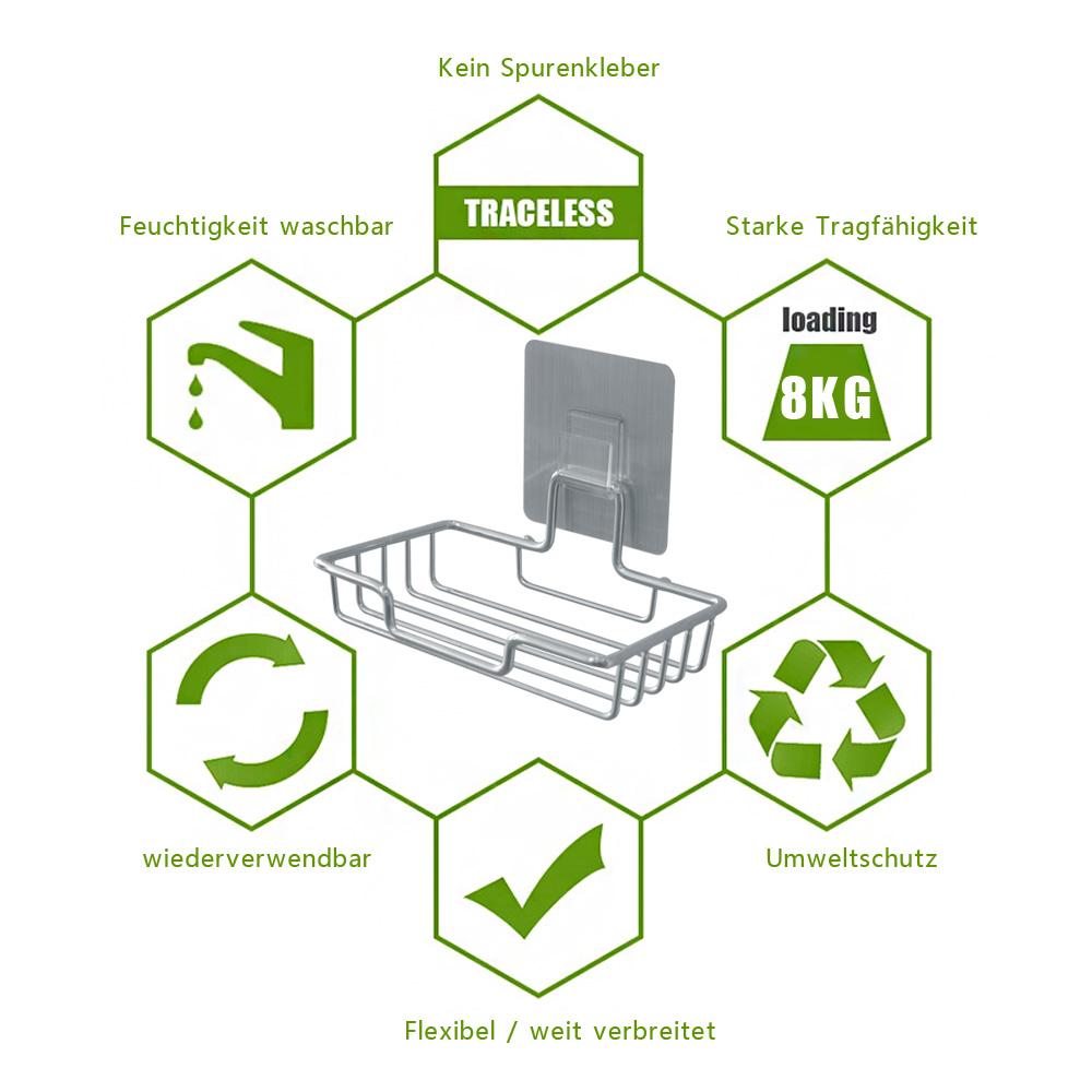 2x selbstklebend seifenhalter halter wand seifenschale ohne bohren wasserfest ebay. Black Bedroom Furniture Sets. Home Design Ideas