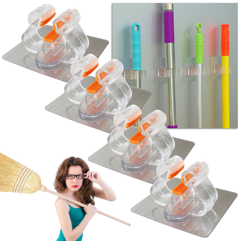 selbstklebendes mop besenhalter werkzeug ger tehalter ohne bohren wasserfest ebay. Black Bedroom Furniture Sets. Home Design Ideas