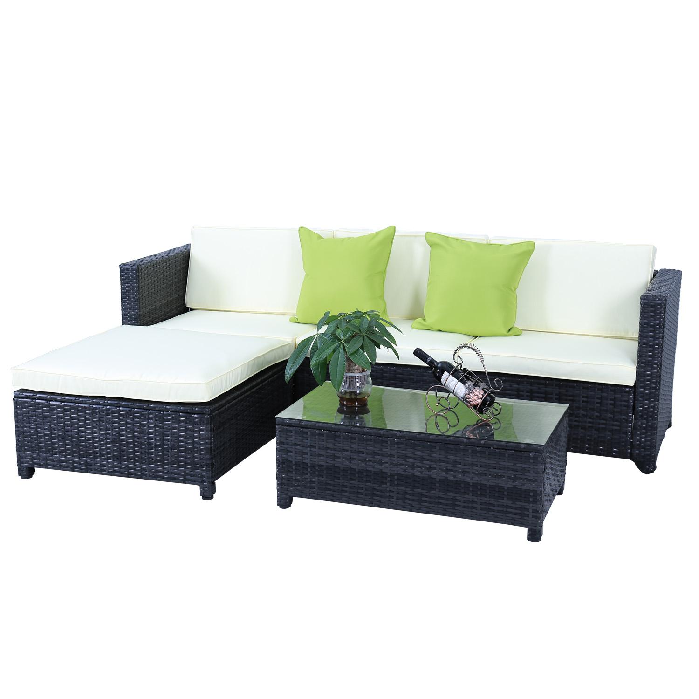 Gartengarnitur Poly Rattan Gartenmöbel-Set Schwarz Lounge Sitzgruppe ...