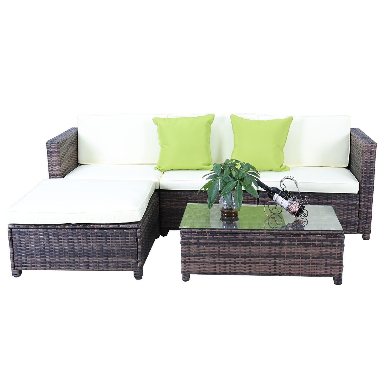 Gartengarnitur Poly Rattan Gartenmöbel-Set Braun Lounge Sitzgruppe ...