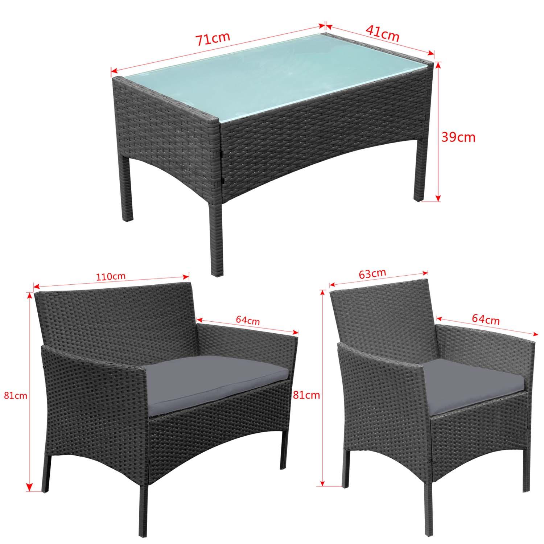 Polyrattan Lounge Gartenmöbel Set Gartensofa Modern Garnitur Rattan ...