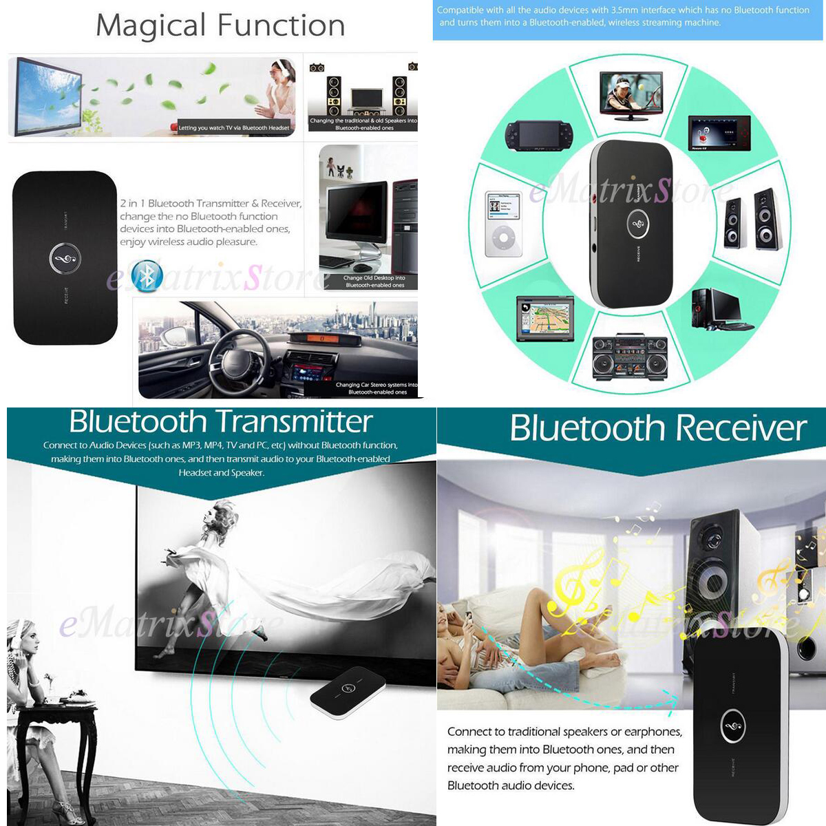 2in1 Bluetooth Transmitter & Receiver Home Wireless A2DP TV Stereo ...