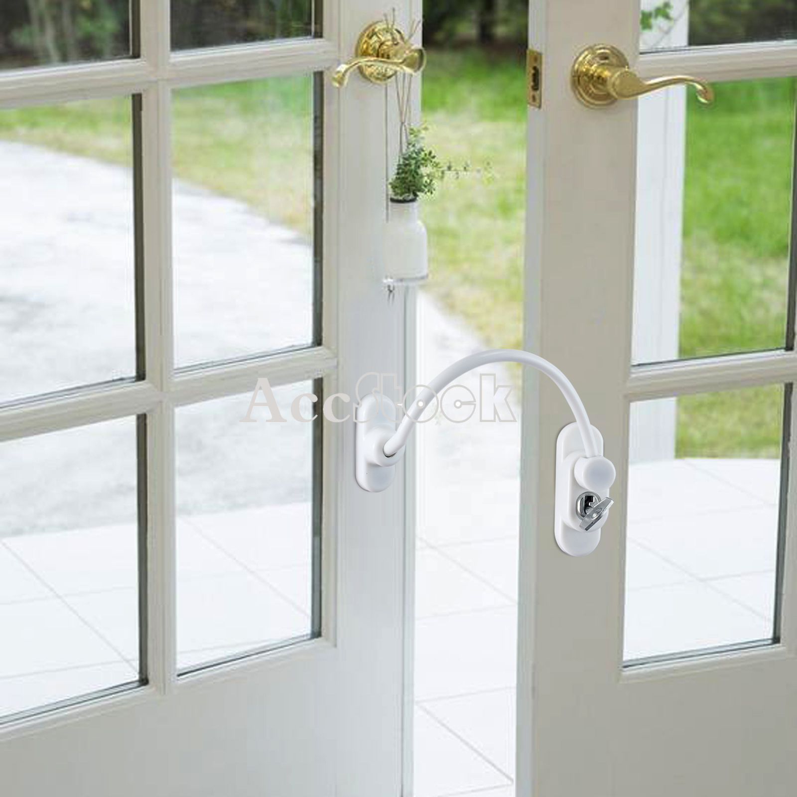 4pcs white window door cable restrictor ventilator child for Door restrictor