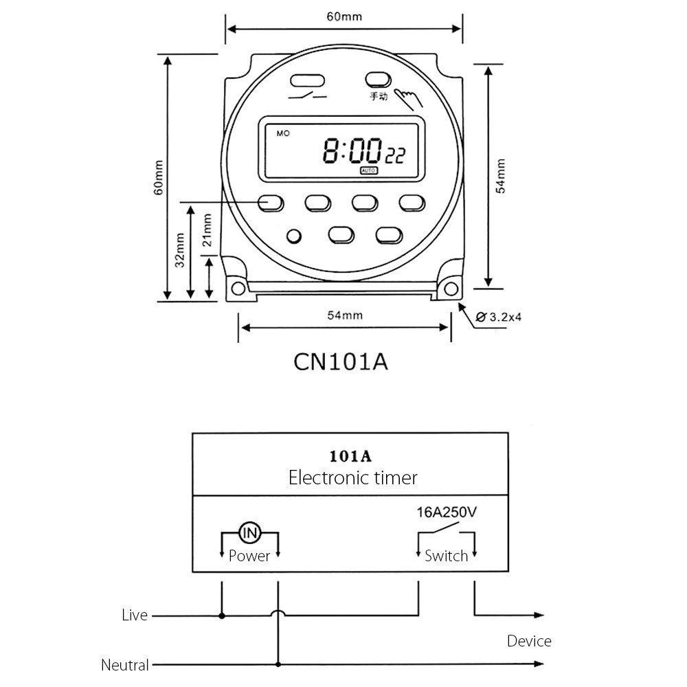 NEU LCD Digital Zeitschaltuhr programmierbar Timer AC/DC 12V 16A ...