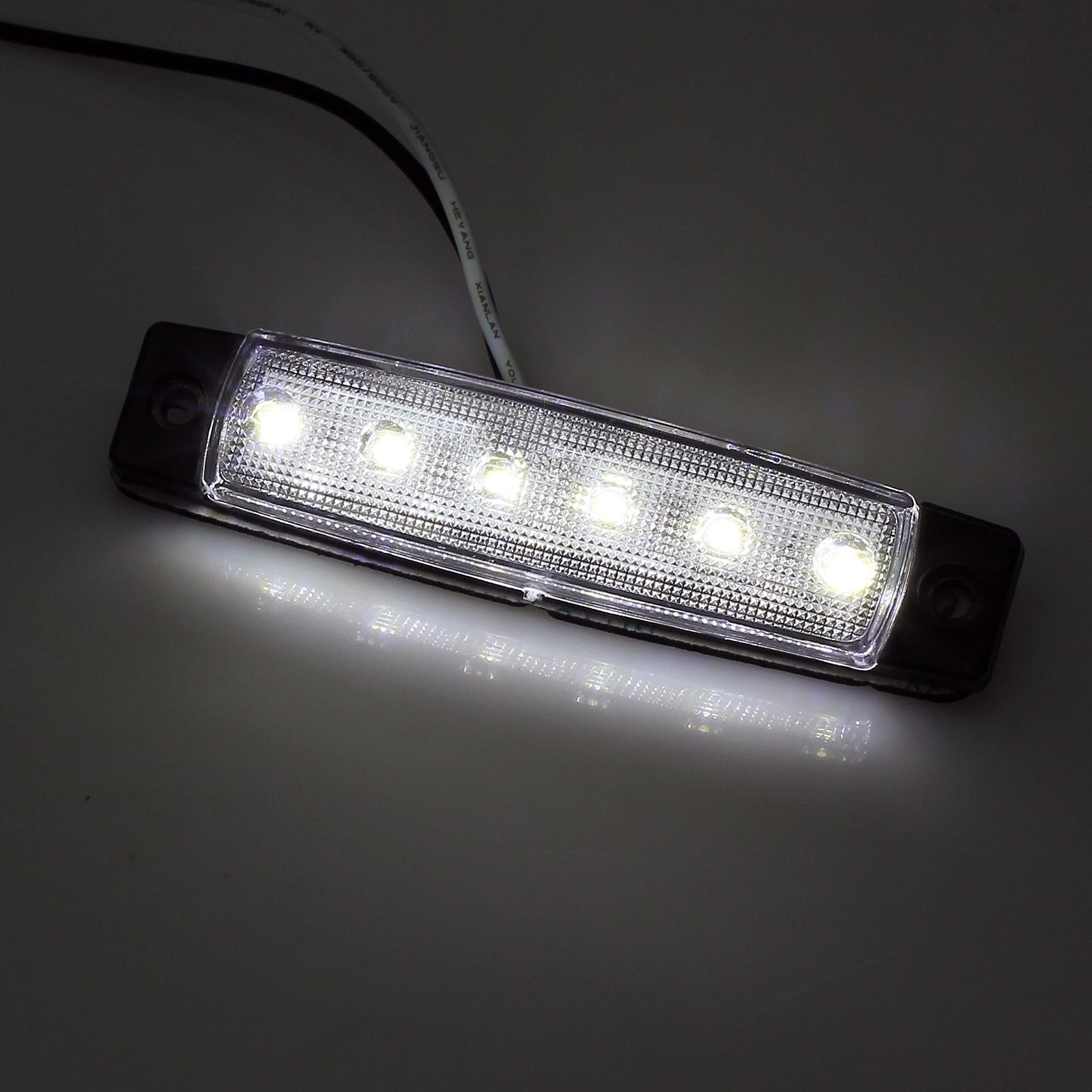 10x 12V Weiss 6 LED Leuchte Begrenzungsleuchte LKW PKW ...