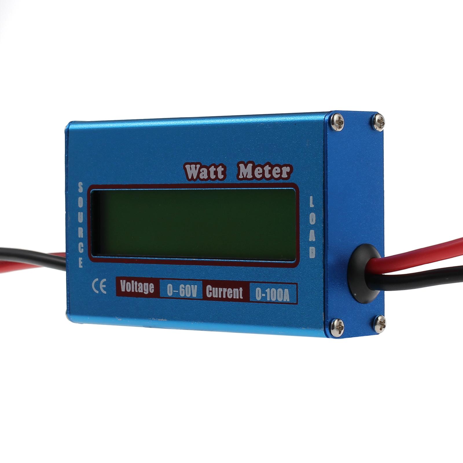 Digital Watt Meter : Lcd digital watt meter battery v a dc ammeter rc