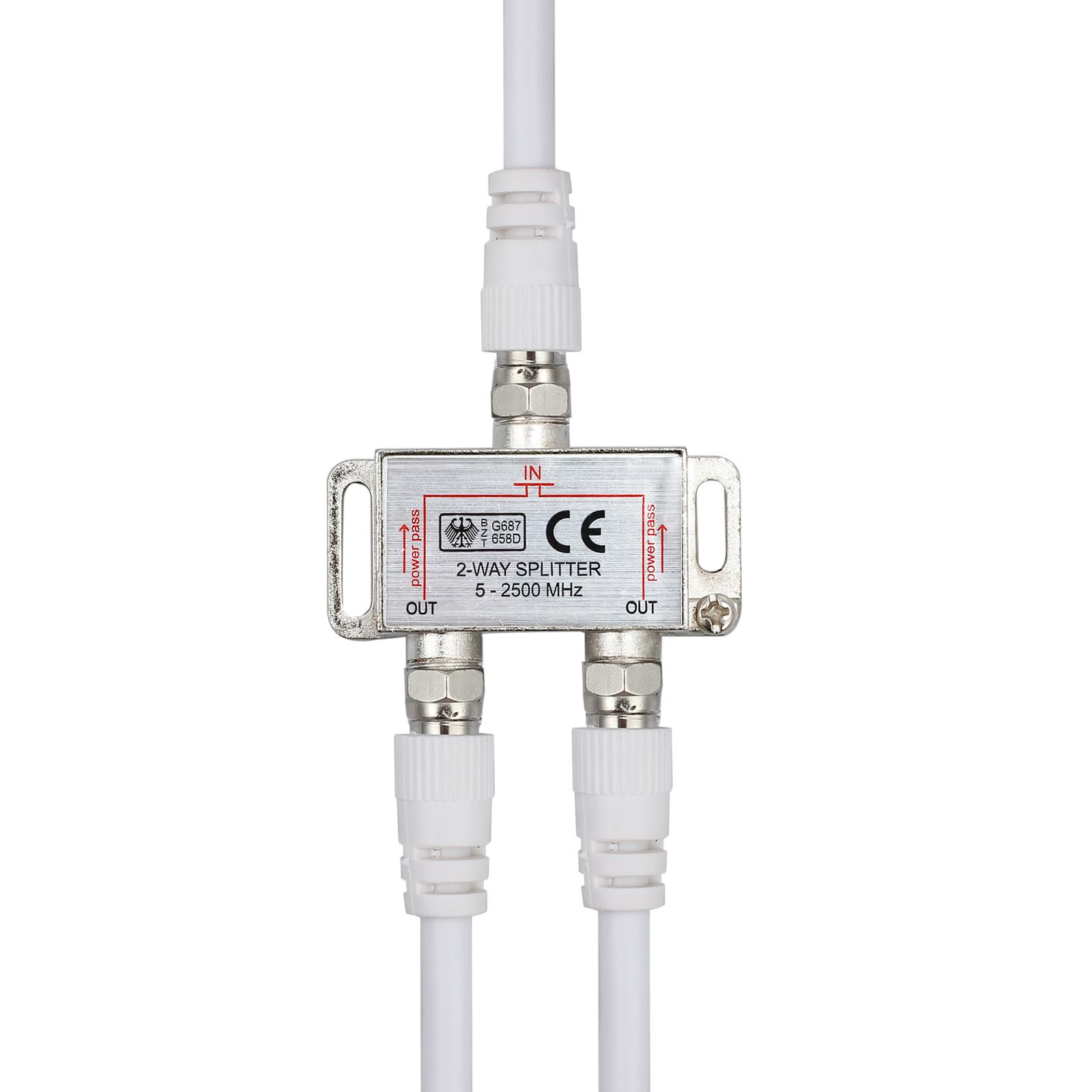 2 fach tv antennenverteiler verteiler tv bk sat splitter f stecker adapter kabel ebay. Black Bedroom Furniture Sets. Home Design Ideas
