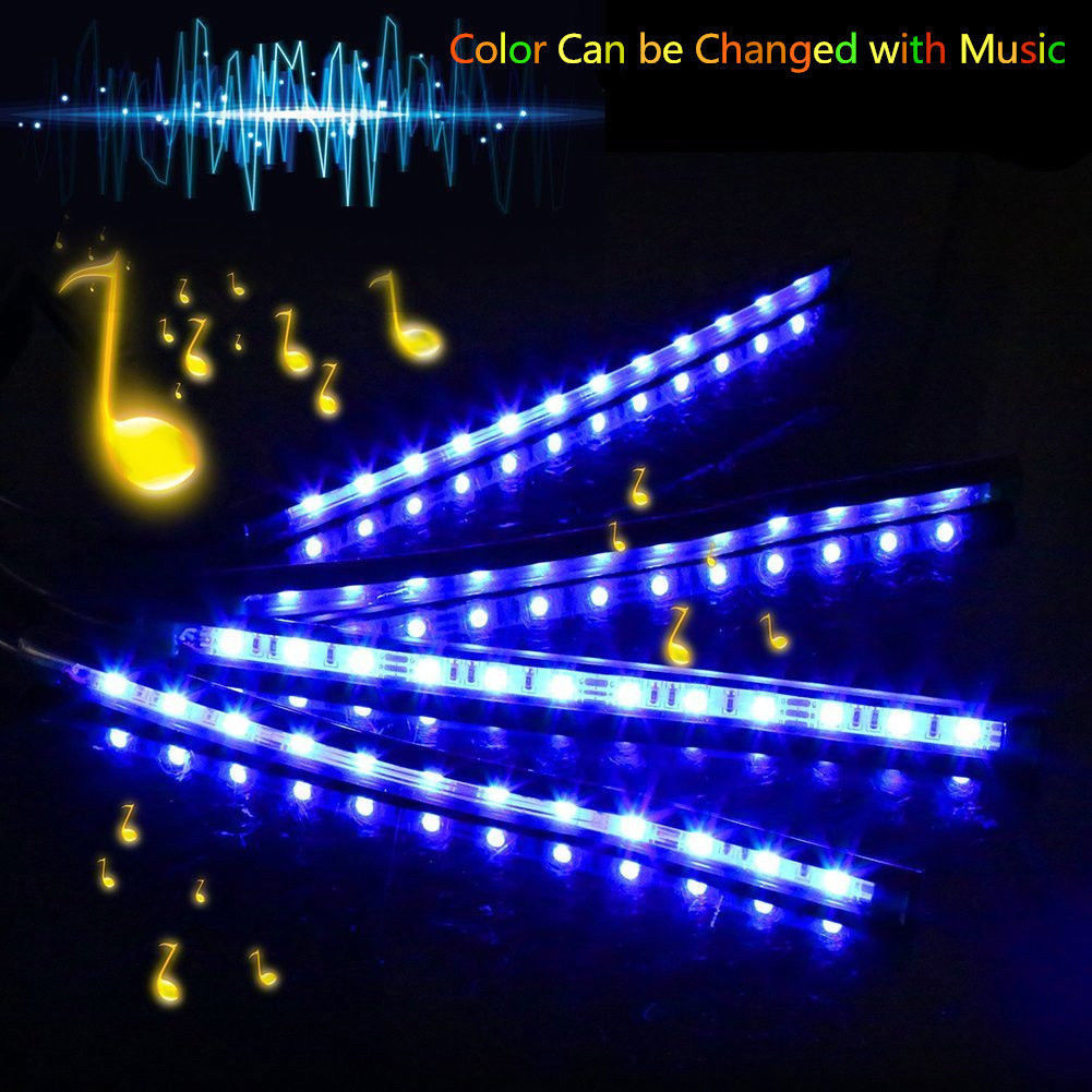 4x car interior led rgb color change strip light atmosphere decorative lamp 12v ebay. Black Bedroom Furniture Sets. Home Design Ideas