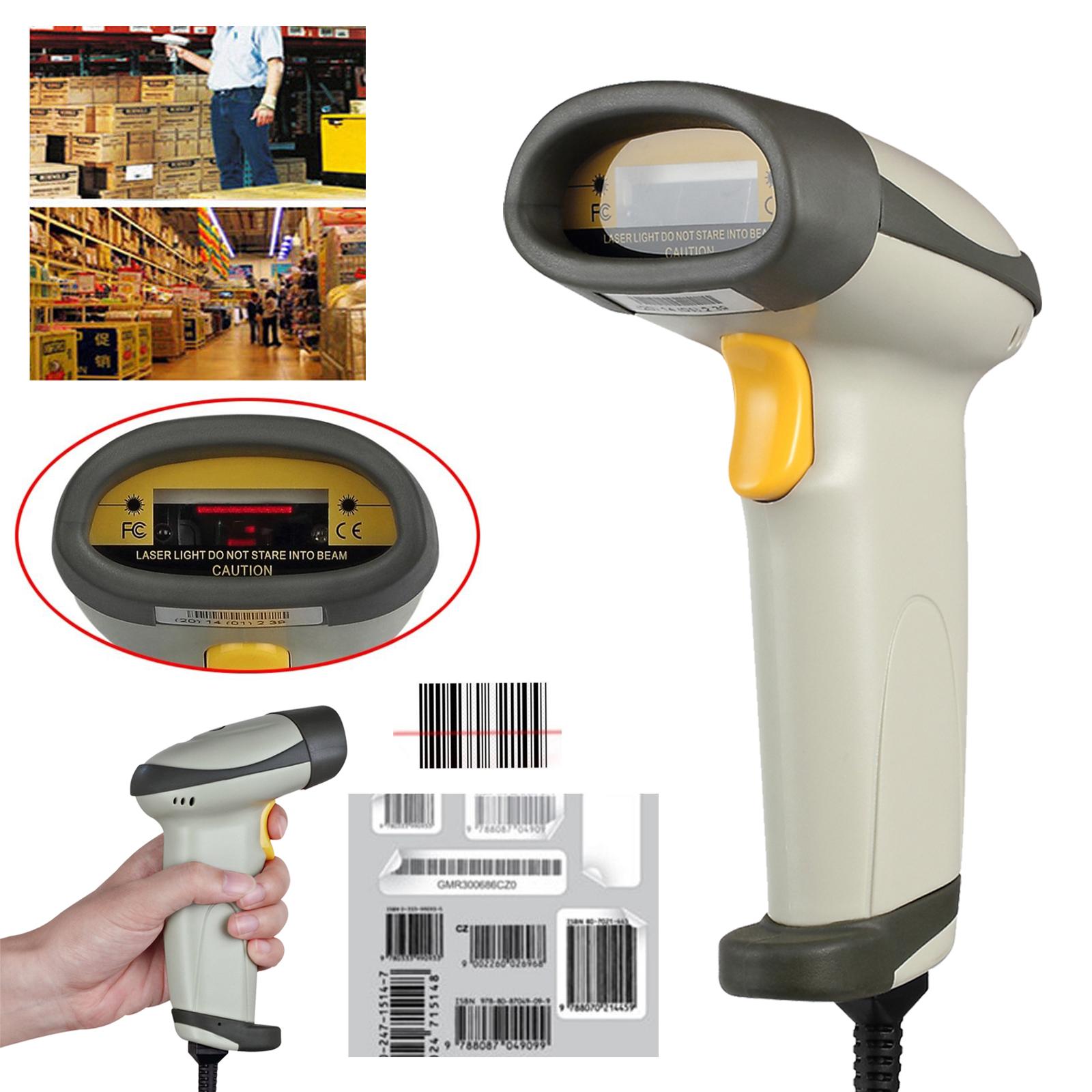 laser barcode scanner handscanner laser scanner barcodescanner pos mit usb ebay. Black Bedroom Furniture Sets. Home Design Ideas
