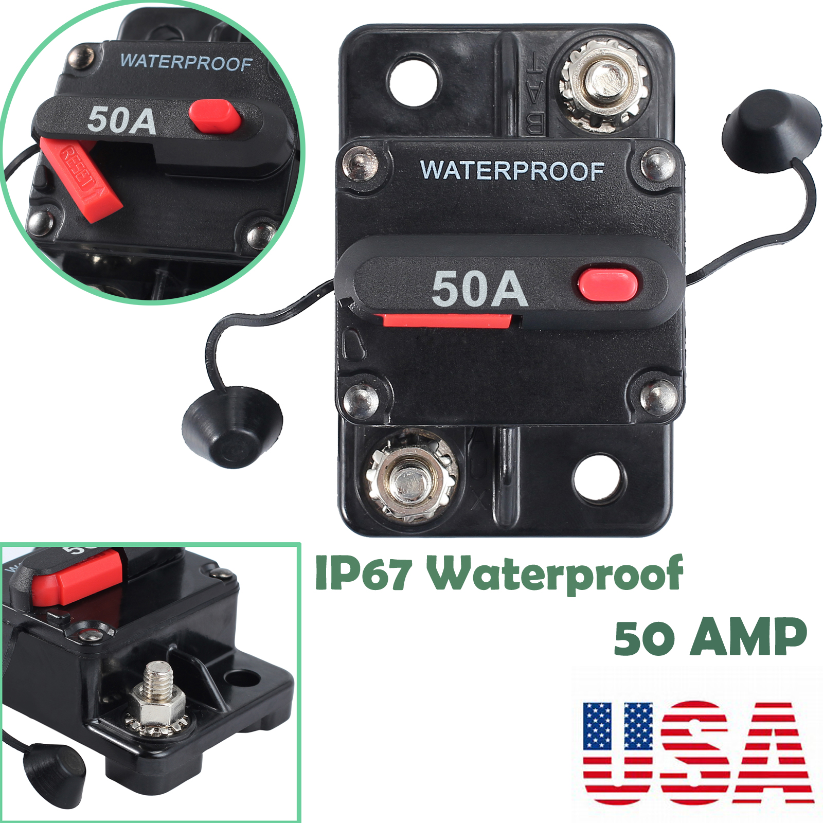 50a amp circuit breaker surface mount dual battery manual reset sae rh ebay com SAE J1171 Marine Trim SAE J1171 Marine Trim