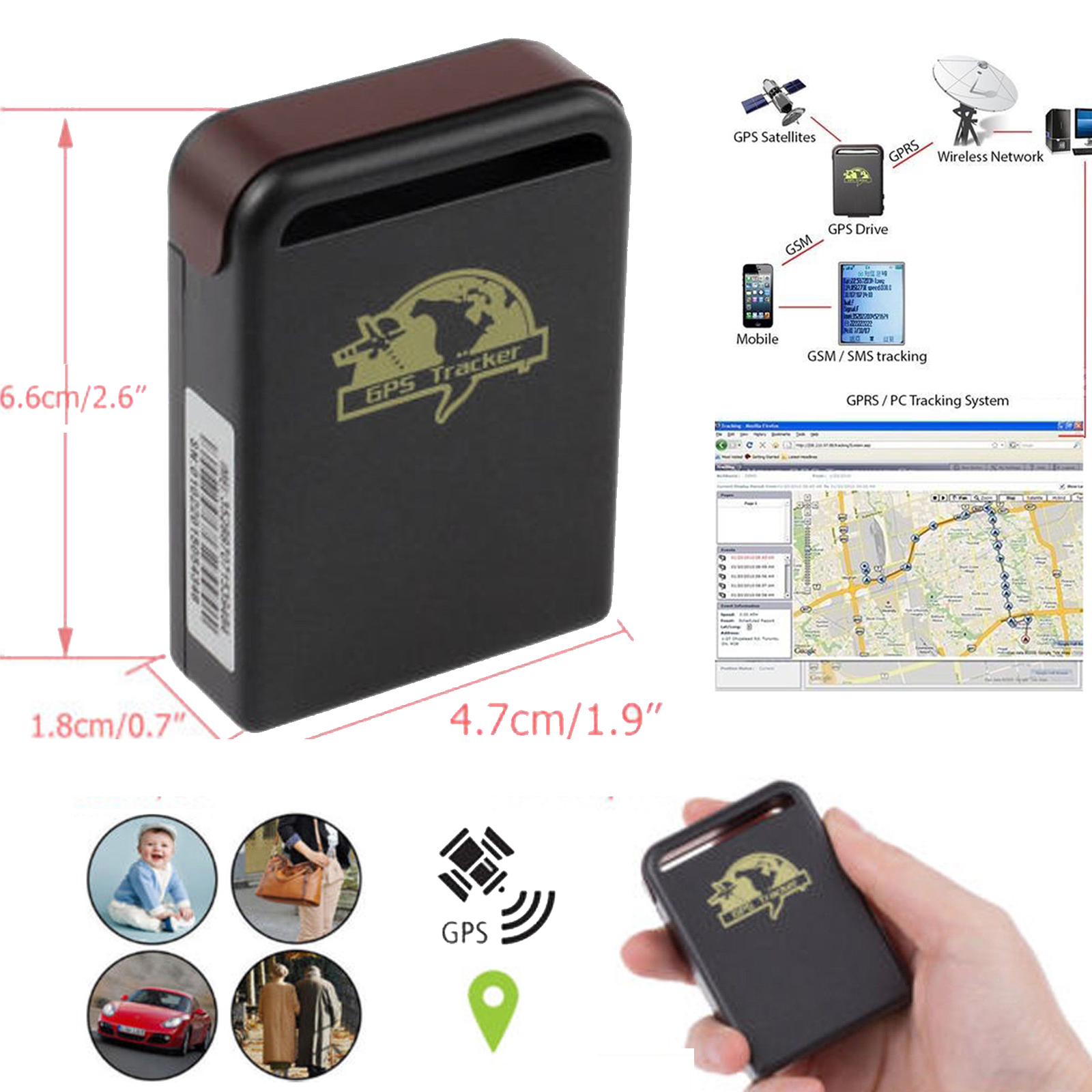 mini gprs tracker sms gps gsm tracking berwachung fr auto. Black Bedroom Furniture Sets. Home Design Ideas