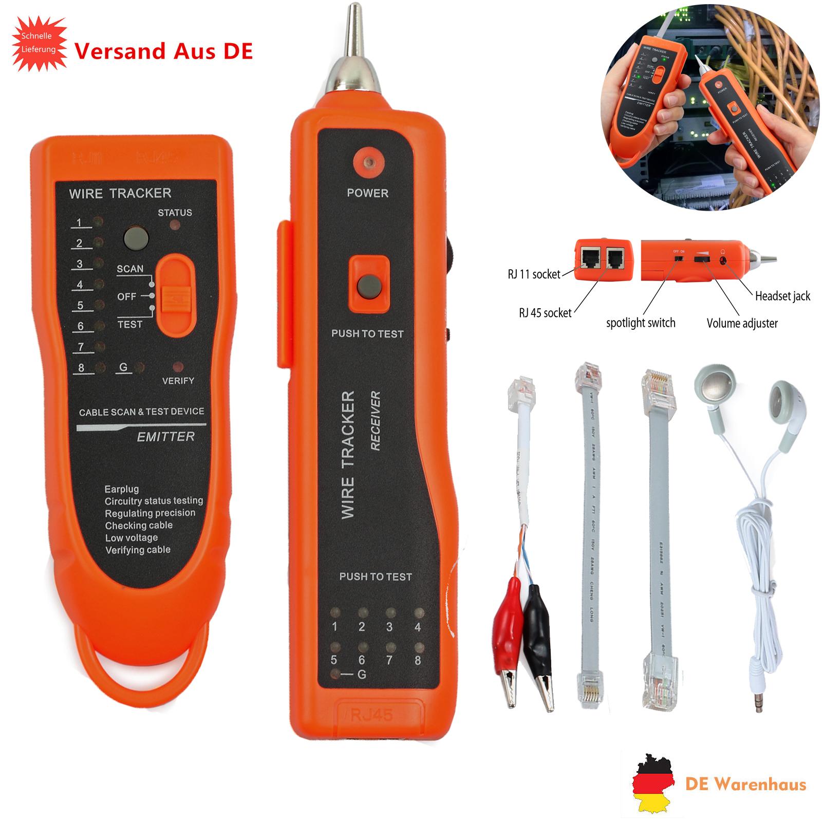 Kabelfinder Kabel Tester für RJ45 / RJ11 LAN DSL Netzwerk Testgerät ...