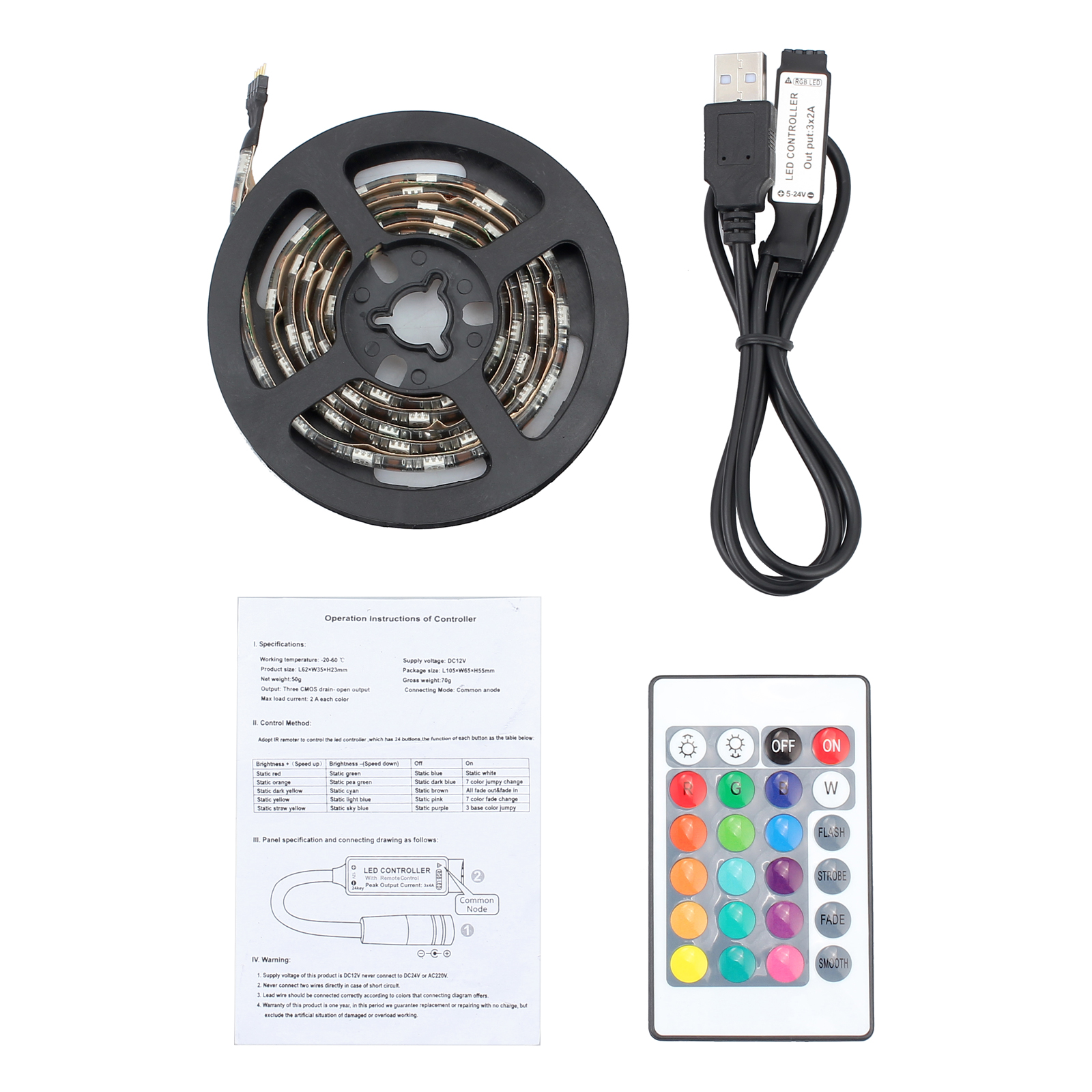 100cm Rgb Tv Backlight 5050 Led Strip Lights Usb Pc Colour Changing Lighting Wiring Schematic 1 Controller