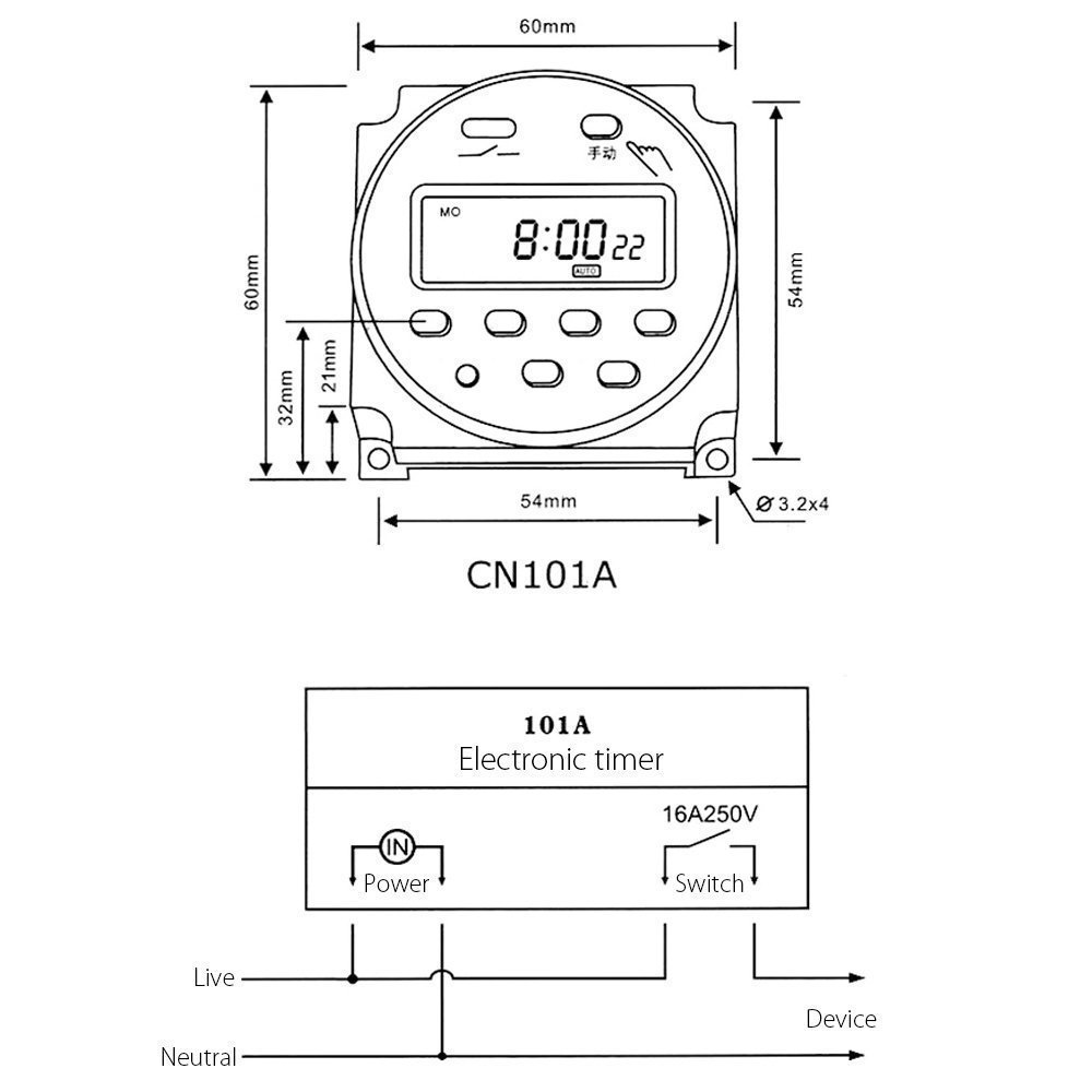 Schema Elettrico Relè Interruttore : Dc 12v 16a digitale elettronico lcd time relè interruttore