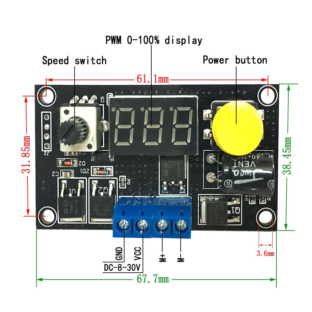 MAX 8A DC 6-30V MOTOR PWM SPEED CONTROLLER W/ DIGITAL LED DISPLAY ...