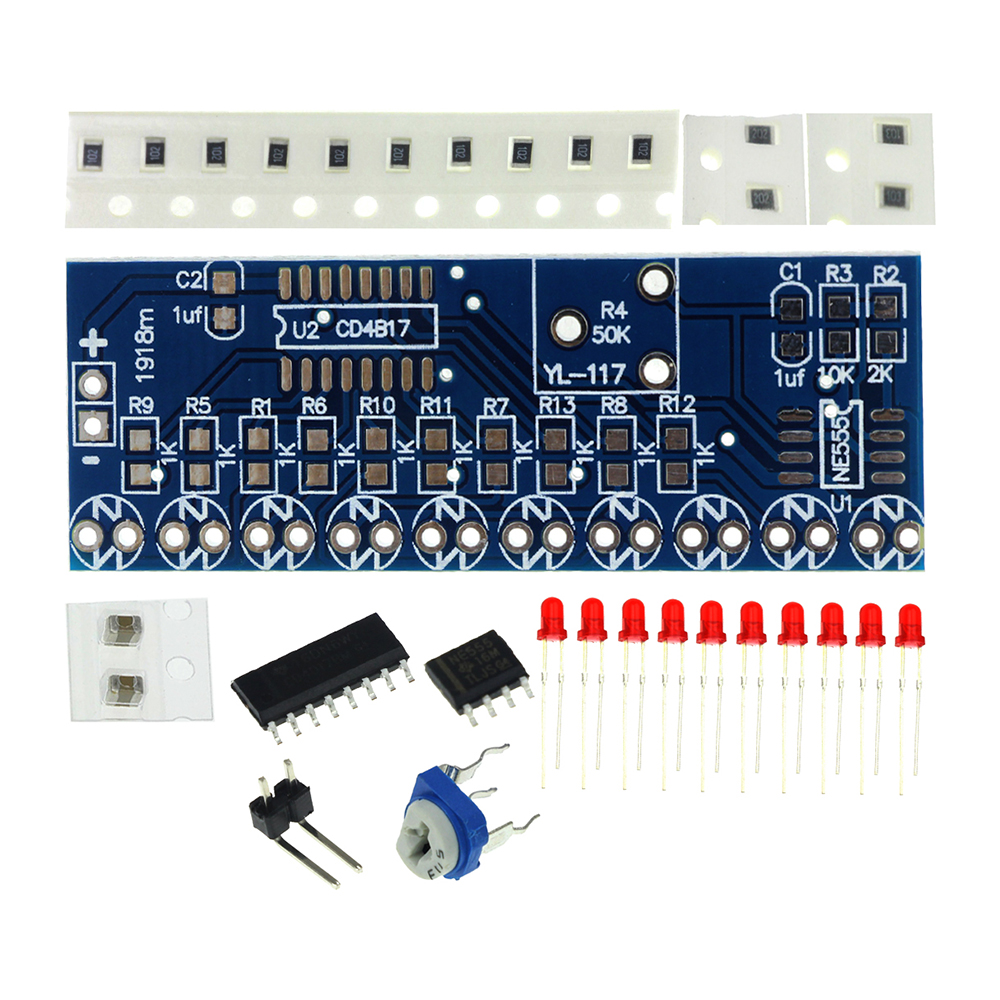 Ne555 Cd4017 Led Scrolling Flowing Red Light Smd Diy Kit Soldering Electronically Designed Dice Game Circuit By Lm555 Item 3