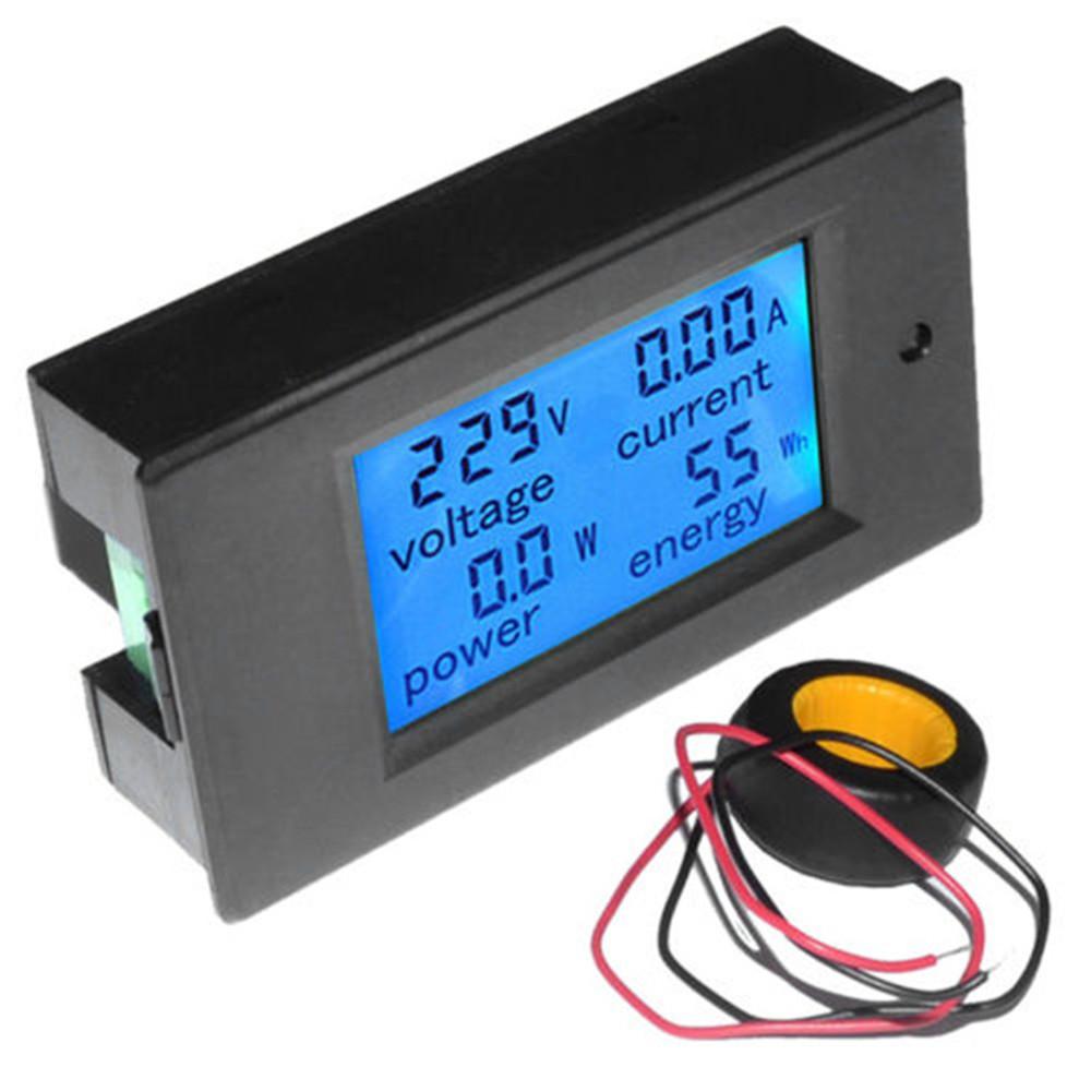 Dc 65100v Ac 80260v 20 50 100a Lcd Digital Display Volt Amp Power Combo Amperemeter Voltmeter Frame 0 100v 10a Watt Meter