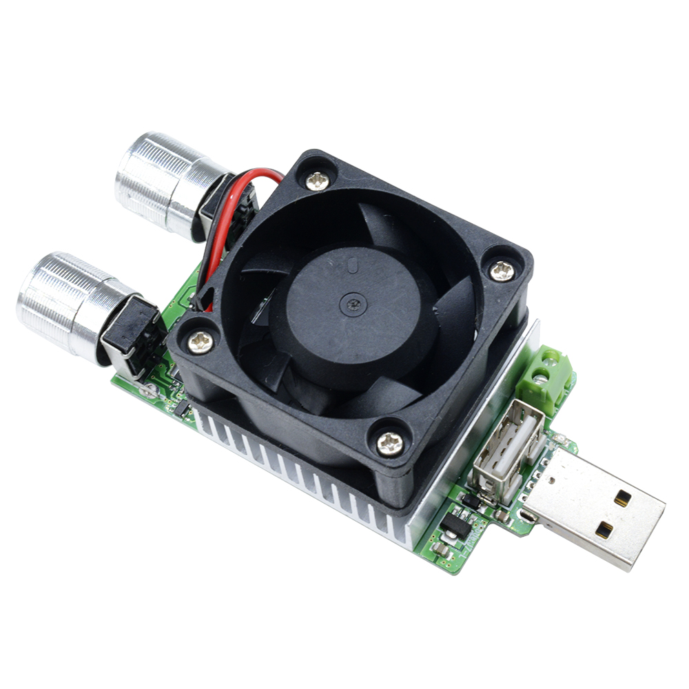 35W 3V-21V Adjustable USB Electronic Load Battery Discharge Capacity Tester Fan