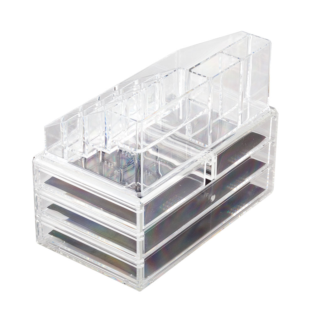 Acrylic Cosmetic Make Up Organiser Clear 4 Drawer Display