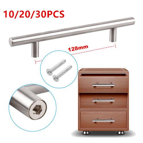 10x brushed steel t bar handles kitchen cabinet door cupboard