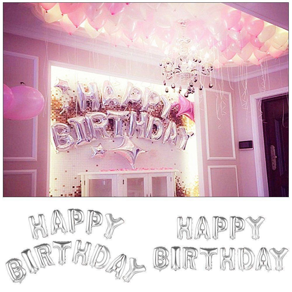 Self Inflating Happy Birthday Banner Foil Balloon Bunting 13Pcs ...