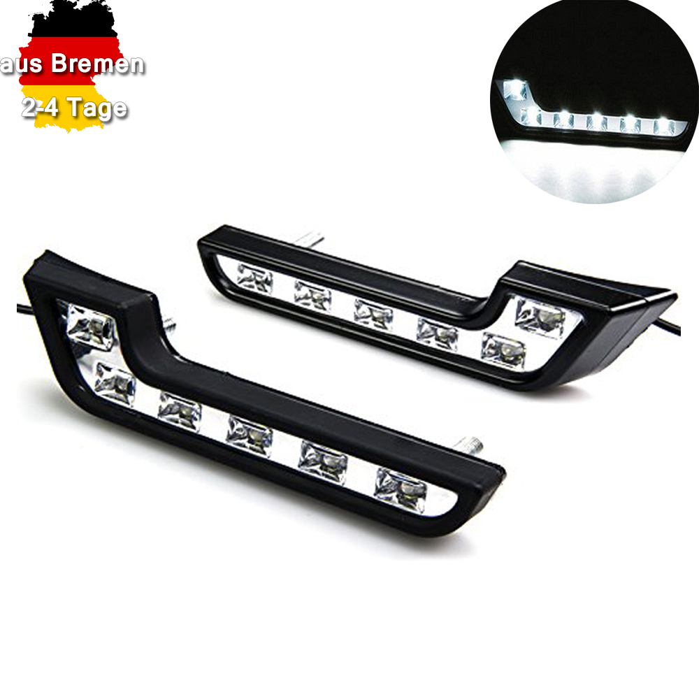 12v tagfahrlicht set auto universal 6 led nebelscheinwerfer drl 6w xenon wei ebay. Black Bedroom Furniture Sets. Home Design Ideas