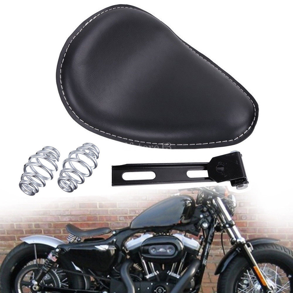 Leather Black Solo Seat Cushion Pad for Harley for Sportster Bobber Custom AP