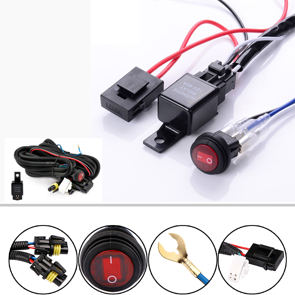 12v 40a led work fog light bar wiring harness relay kit on