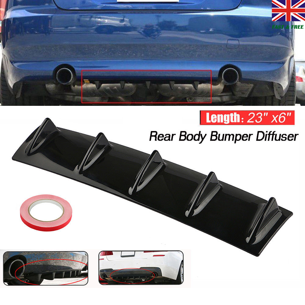 "14x6/"" Universal Car Lower Rear Body Bumper Diffuser Shark 3 Fin Kit ABS Spoiler"