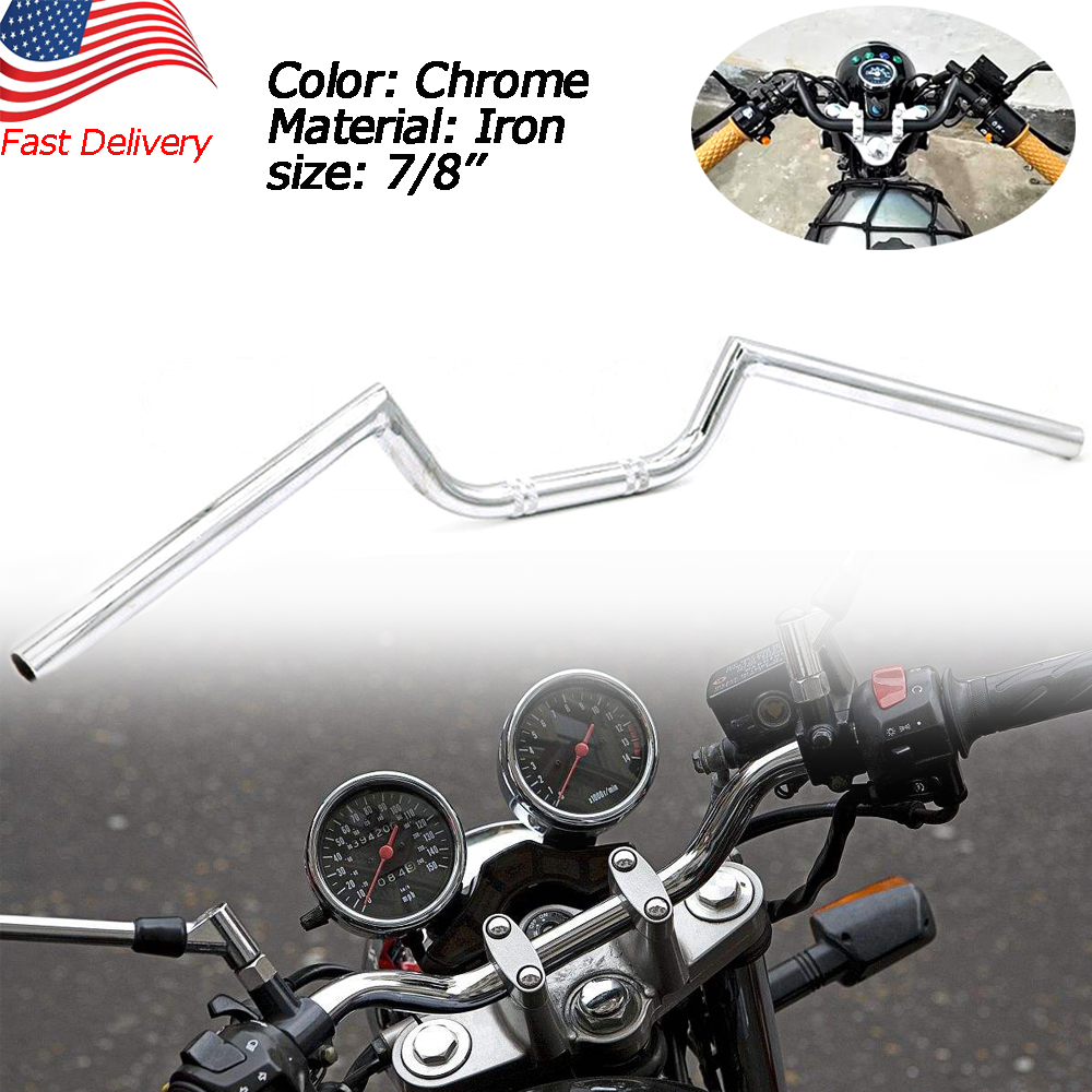 "7//8/"" 22mm Motorcycle Handlebar High-Rise Drag Bar Chrome For Honda Yamaha Suzuki"
