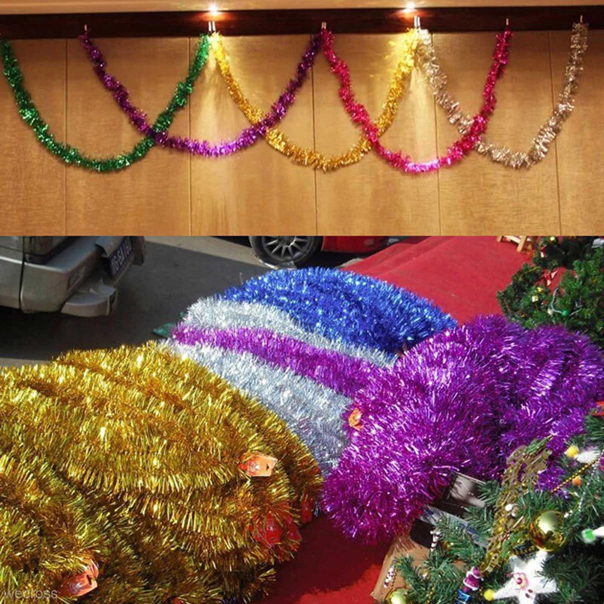 Details About 2m Christmas Xmas Tree Ornaments Tinsel Garland Hanging String Party Decorations