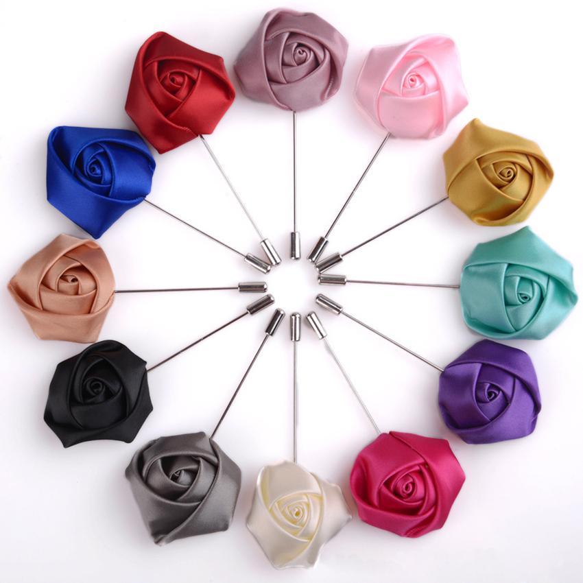 Men Accessory Fad Lapel Silk Rose Flower Handmade Boutonniere Stick Brooch Pin