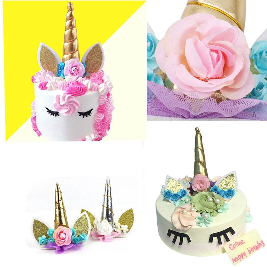 Unicorn Baby Birthday Cake Topper Set Horn Ears Flower ...