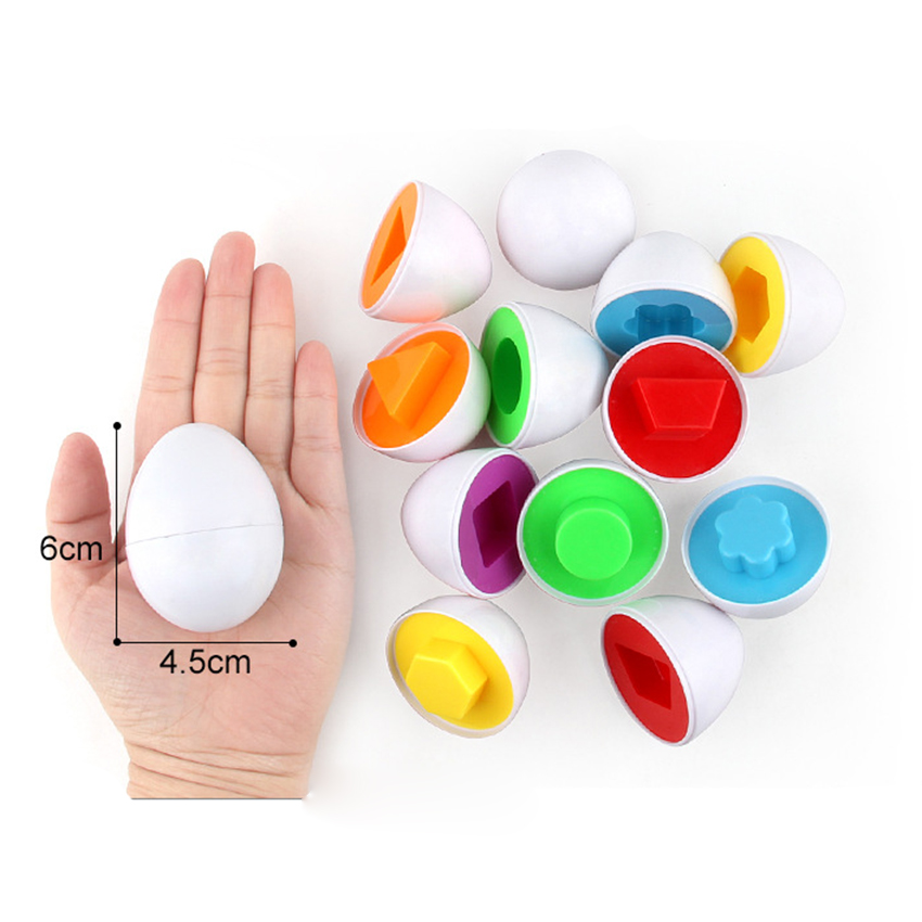 12Puzzle Egg Match Smart Shape Colors Educational Learning Toy Kid Easter egg AR