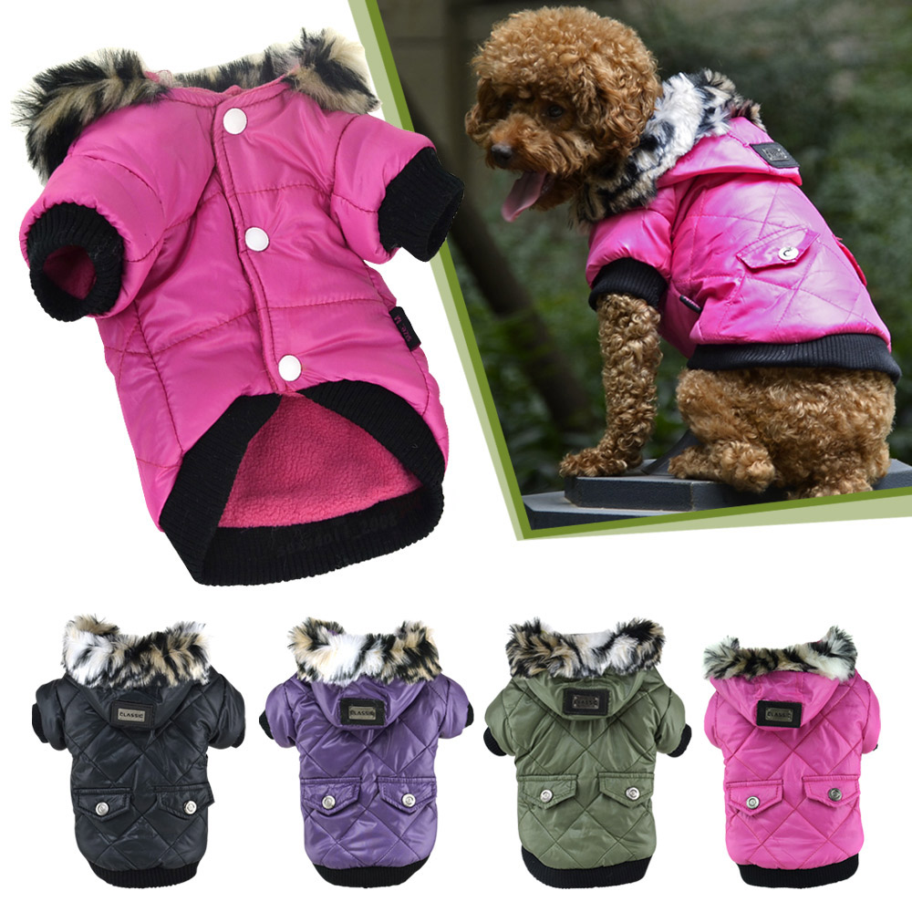 5 sizes Pet Small Dog Puppy Waterproof Coat Jacket Hoodie Thick Apparel Clothes 11