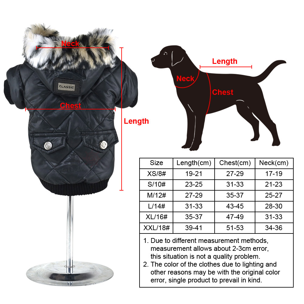 5 sizes Pet Small Dog Puppy Waterproof Coat Jacket Hoodie Thick Apparel Clothes 14