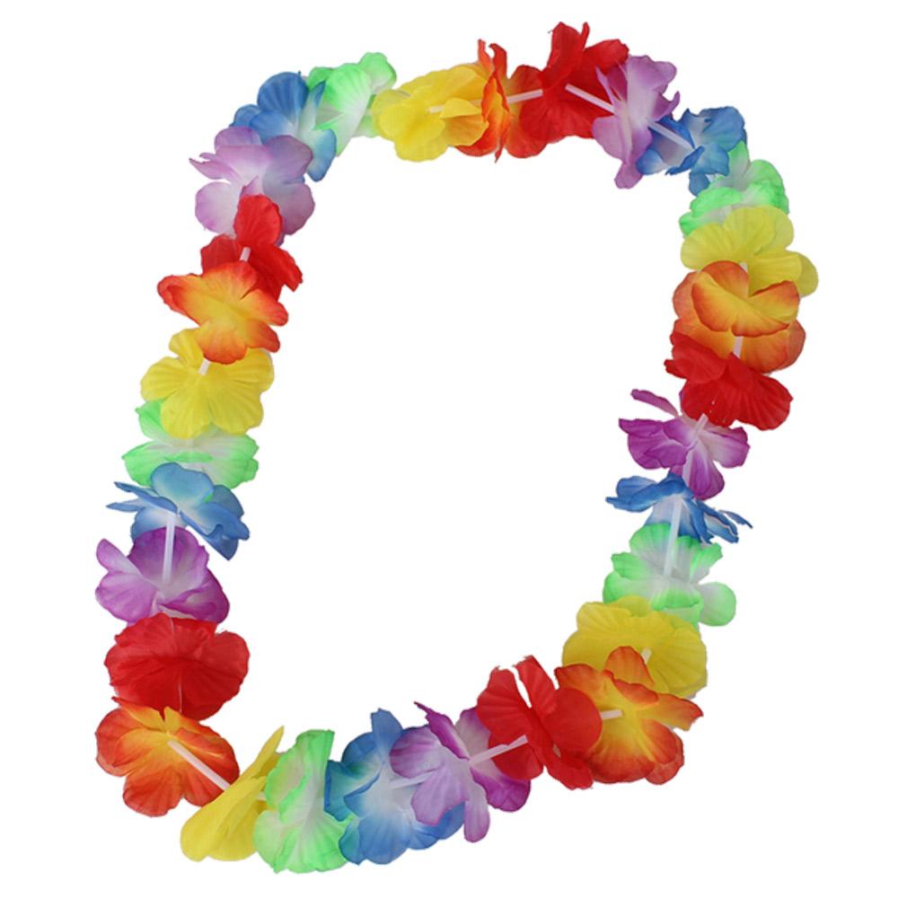 24pcs Fancy Dress Flower Lei Necklace Hawaiian Garland Headband Hula Party Set