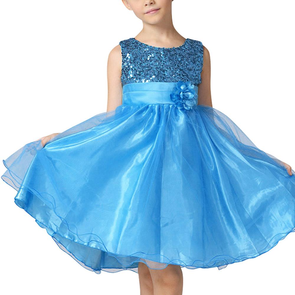 Kids Girls Flower Sequins Dress Evening Wedding Party Dresses ...
