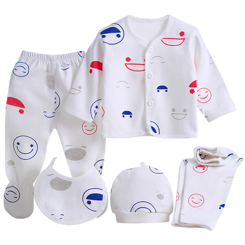 5Pcs Newborn Baby Infant Girls Boy Grow Clothes Sets PJS T-shirt Pants Outfits