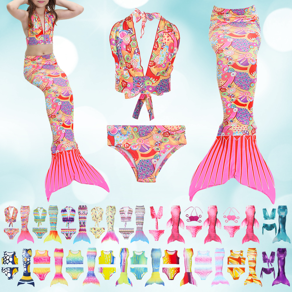 da9af1e7e38 Details about Stretchy 3pcs Kids Baby Girl Mermaid Tail Swimsuit Swimwear  Bathing Suit Bikini