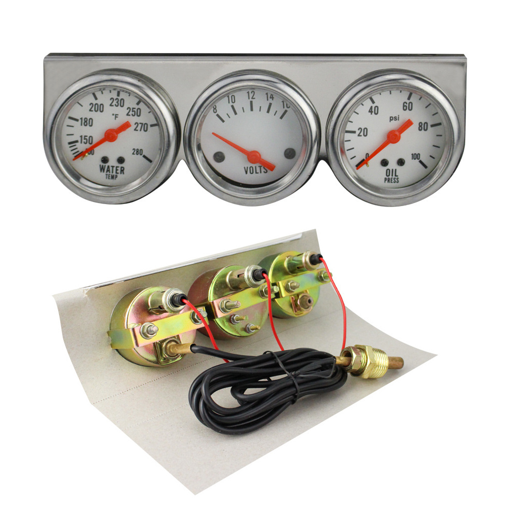 USA Universal Chrome Oil Pressure Water Volt Triple 3