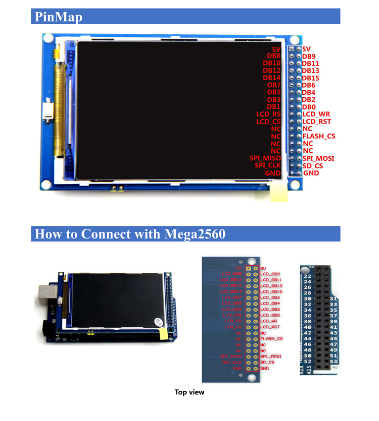 Details about New 3 5'' TFT LCD Display with SD Card Socket 320x480 for  Arduino MEGA 2560