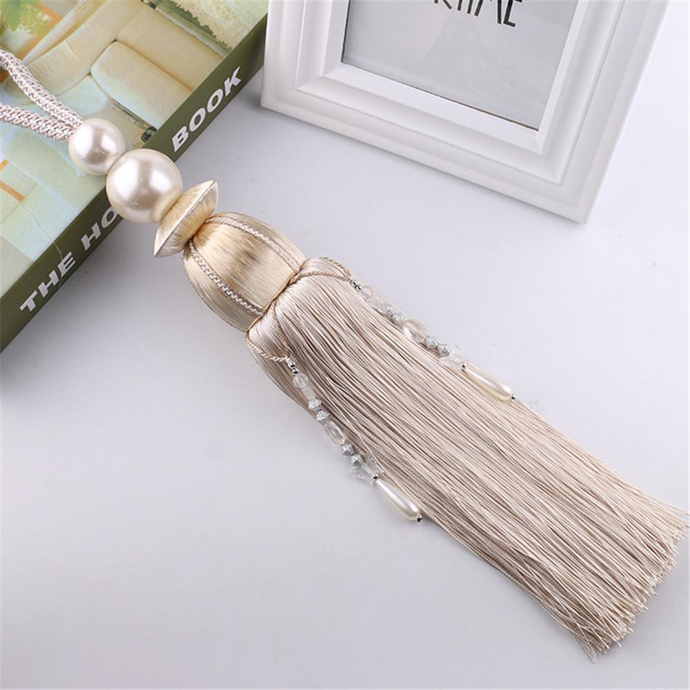 1 Pair Pearl Beaded Tiebacks Tassels Braided Rope Tie