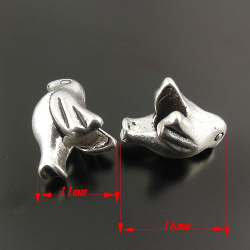 10PCS Antiqued Silver Alloy Cute Bird Shaped Beads Pendants Jewelry Crafts 30188