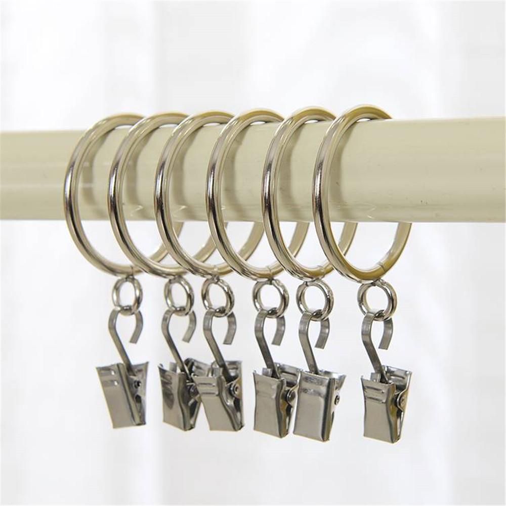 10 st cke metall gardinenringe vorhangringe mit h ngende haken vorhang dekor ebay. Black Bedroom Furniture Sets. Home Design Ideas