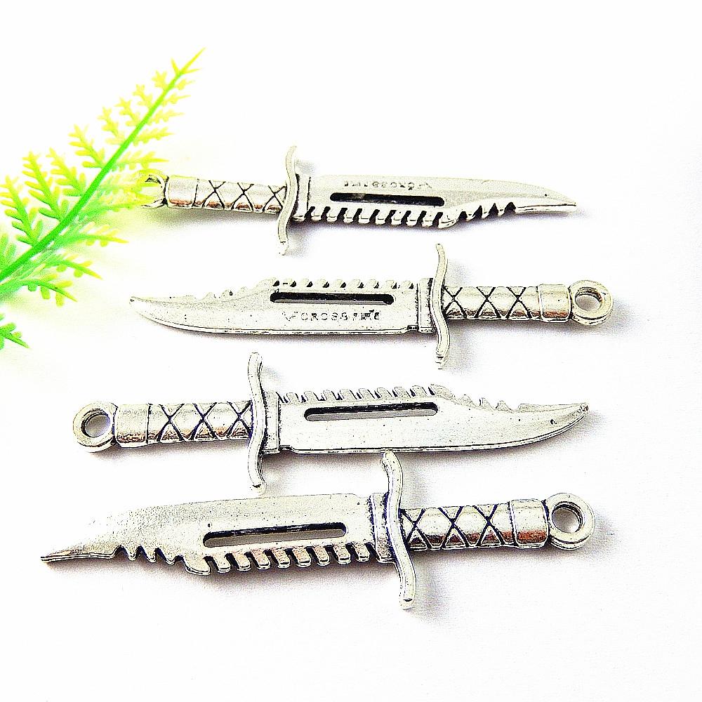 10 Stück Retro Silber Legierung Ritterschwert Form Charmes Kunst Anhänger 50743