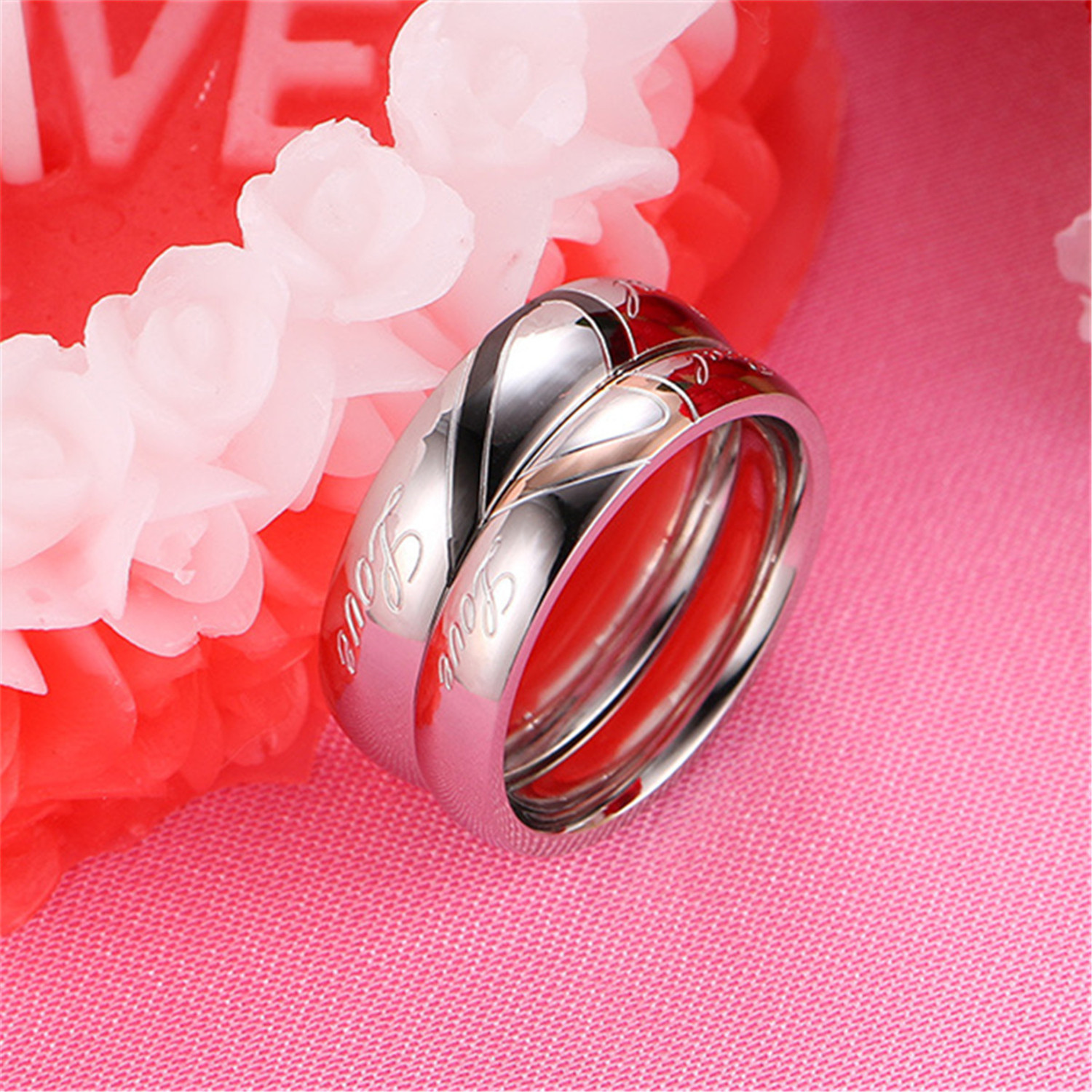 Personalize LOVE Wedding Band Ring Titanium steel Promise Jewelry ...