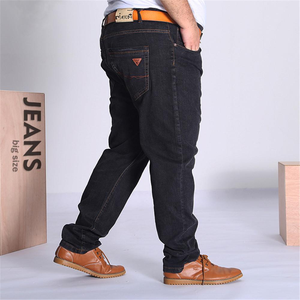 486ee41bcc3 Men s Black Cotton Jeans Big   Tall Size Baggy Pants 36 38 40 42 44 ...